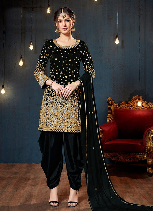 Black Embroidered Traditional Patiala Suit