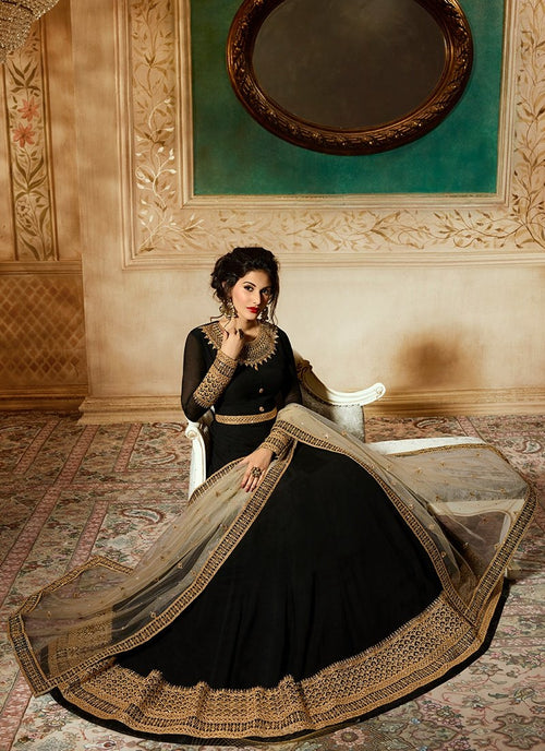 Black Delicately Embroidered Kalidar Anarkali Suit