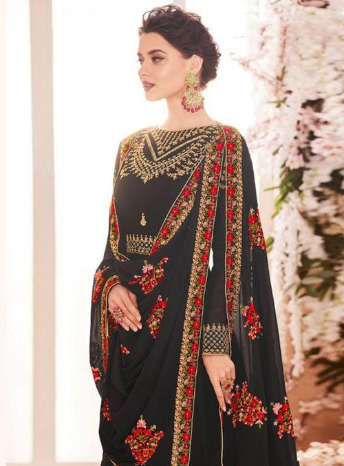 Black Golden Multi Embroidered Flared Anarkali Suit