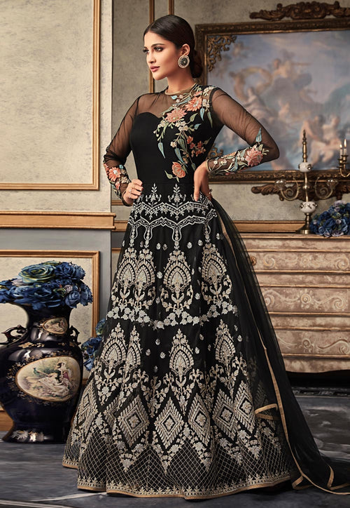 Black Multi Embroidered Flared Anarkali Gown Set