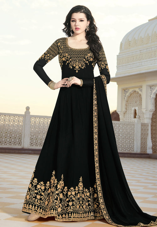 Black Overall Elegant Embroidered Anarkali Suit