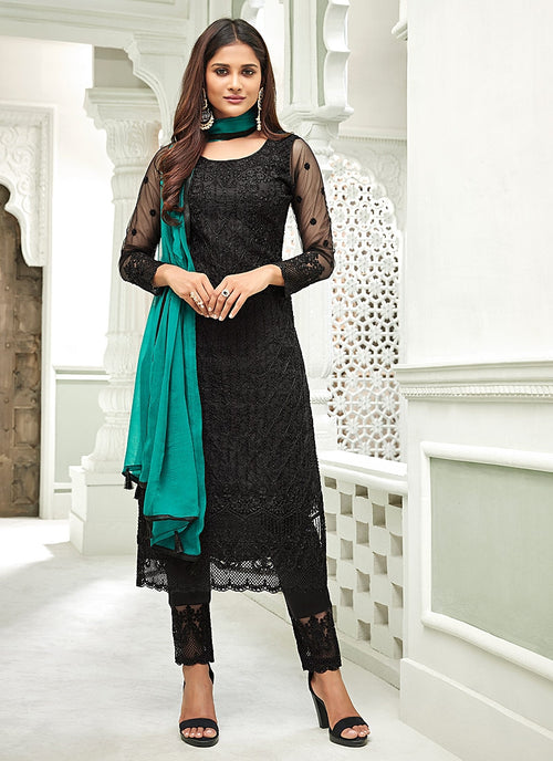 Black Pakistani Embroidered Pant Suit