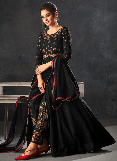 Black With Red Touch Minimalist Embroidered Slit Anarkali Suit