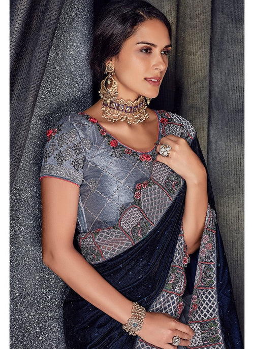 Blackish Blue Floral Embroidered Designer Saree