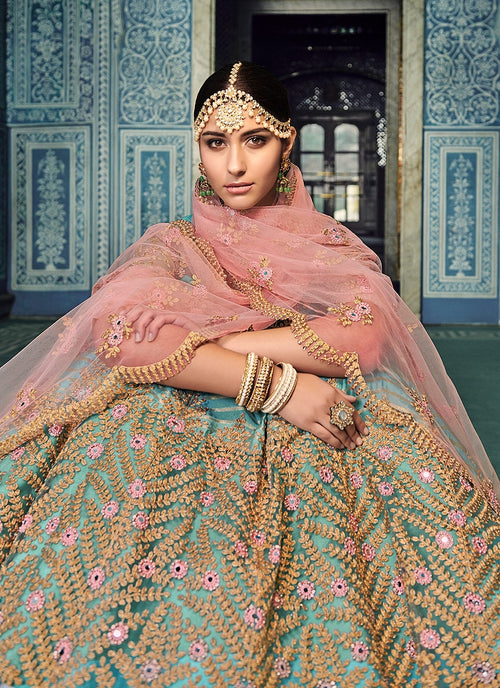 Blue And Blush Pink Embroidered Kaliyaari Lehenga Choli Set