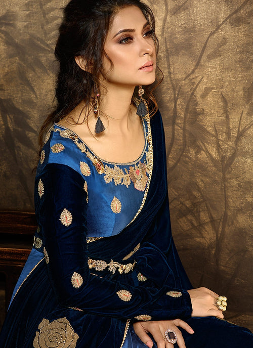 Blue And Navy Satin Silk Embroidered Anarkali Suit