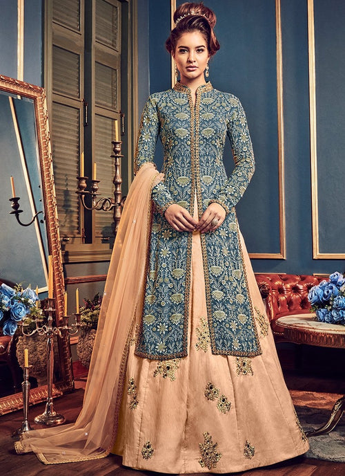 Blue And Peach Butta Embroidered Lehenga Kurti Set