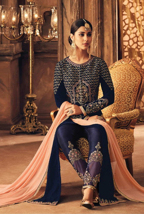 Blue And Peach Traditional Embroidered Pant Suit