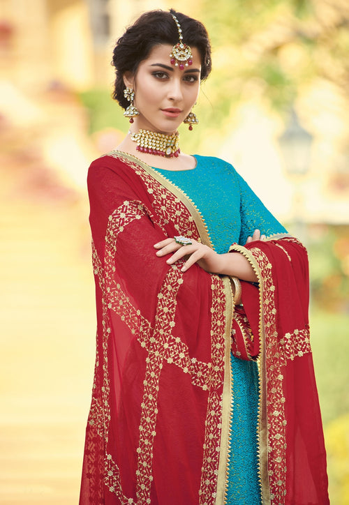 Blue And Red Traditionally Embellished Palazzo Suit