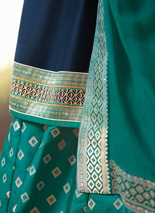 Blue And Turquoise Embroidered Lehenga Kurti Set