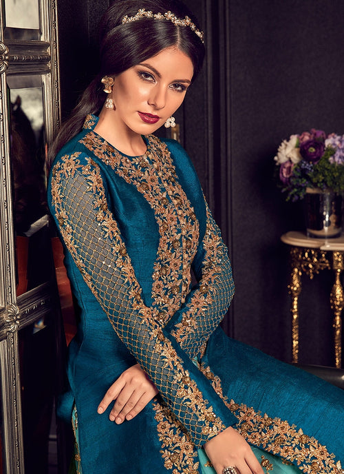 Blue In Dual Tone Traditional Embroidered Anarkali Suit