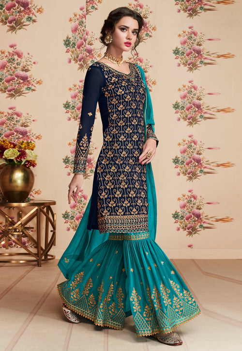 Blue Dual Tone Embroidered Gharara Palazzo Suit
