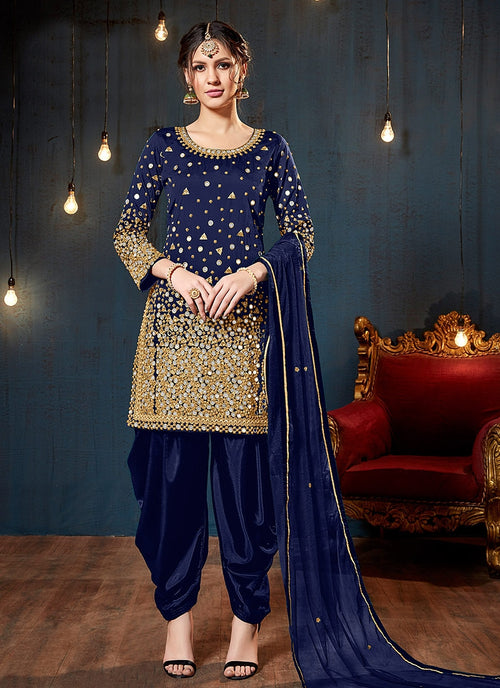 Blue Embroidered Traditional Patiala Suit
