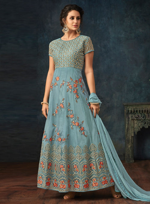 Blue Overall Bunch Embroidered Flared Anarkali Suit