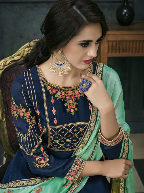 Blue Green Ethnic Embroidered Anarkali Suit