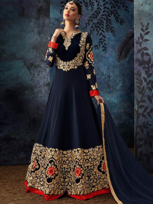 Blue Multi Embroidered Georgette Anarkali Suit