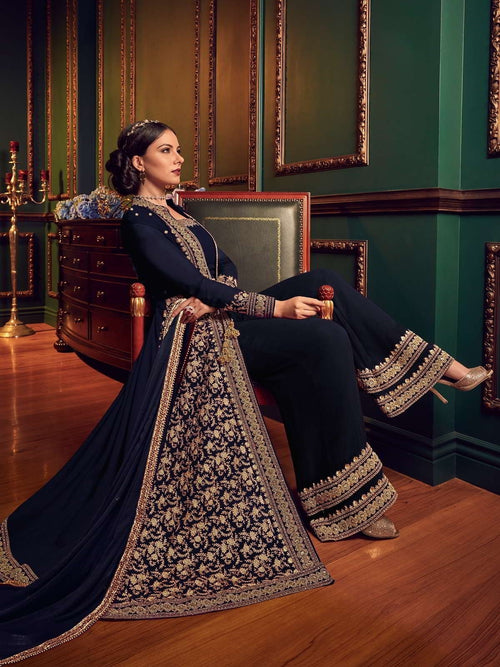Blue Rouge Ethnic Embroidered Jacket Style Palazzo Suit