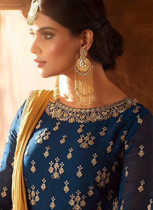 Blue Royal With Ochre Embroidered Flared Anarkali Lehenga Suit