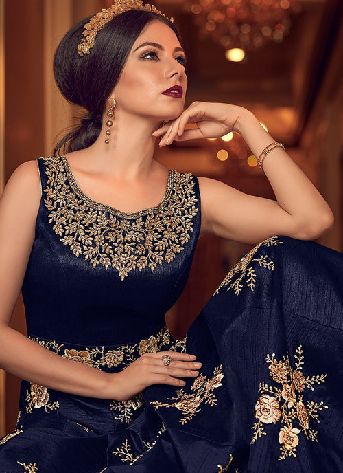 Blue With Detailed Bunch Embroidered Anarkali Suit