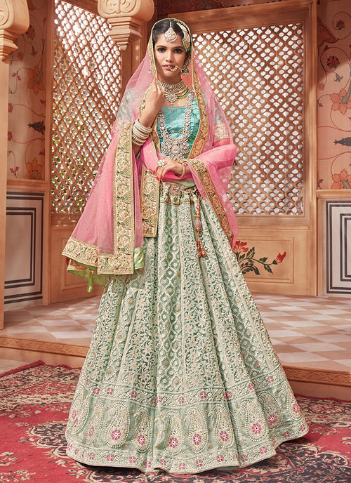 Blue Tones With Pink Contrast Traditional Lehenga Choli Set