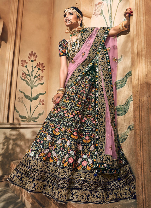 Blue With Pink Velvet Hand Embroidered Lehenga Choli