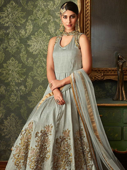 Bluish Grey Embroidered Overcoat Anarkali Gown Suit