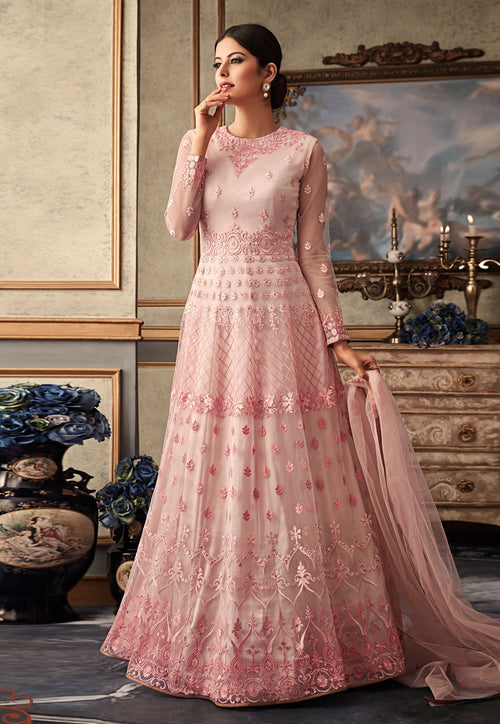 Blush Pink Embroidered Flared Anarkali Gown Set