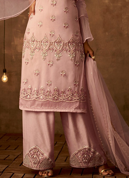 Blush Pink Traditional Embroidered Palazzo Pant Suit