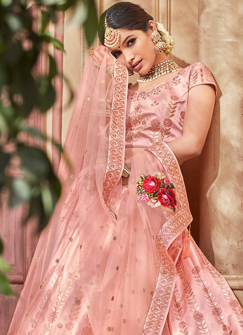 Blush Pink With Butta Embroidered Flared Lehenga Choli Set