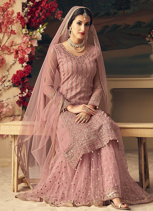 Blush Pink Multi Embroidered Flared Sharara Suit