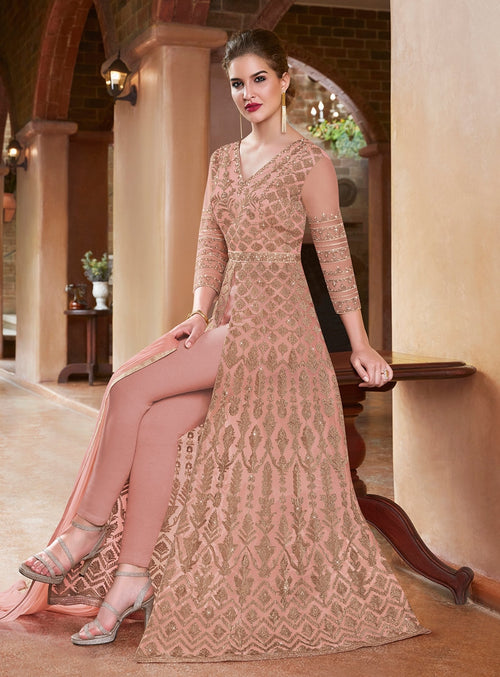 Blush Pink Embroidered Slit Style Anarkali Suit