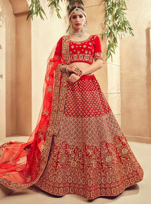 Bridal Red  Velvet Embroidered Lehenga Choli