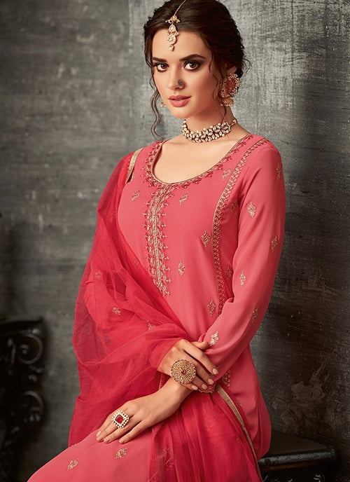Bright Peach Ethnic Embroidered Palazzo Suit