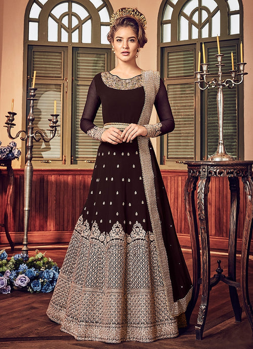 Brown All Embellished Ghera Kaliyaari Anarkali Suit
