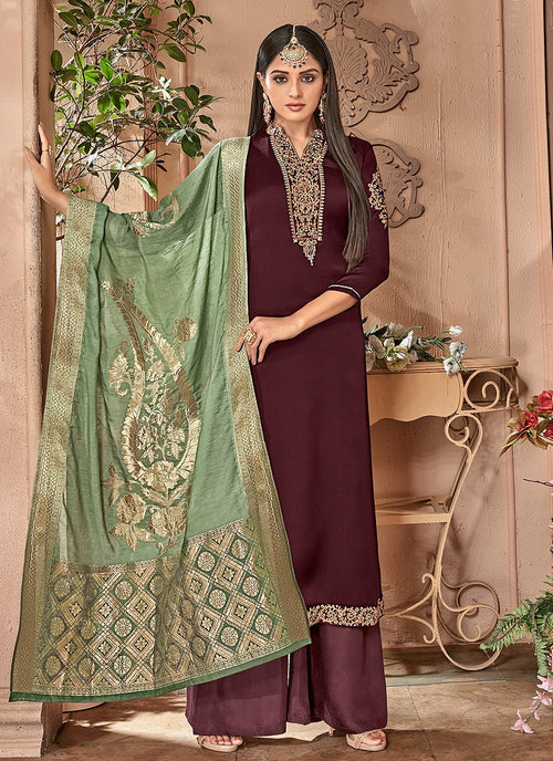 Brown And Green Combination Embroidered Palazzo Suit