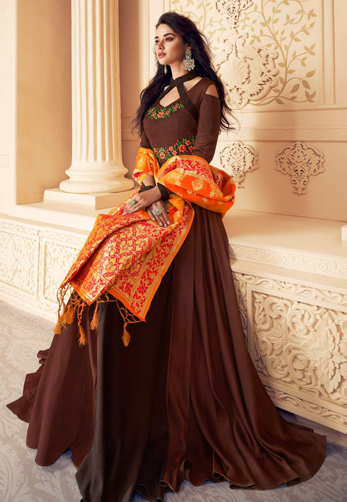 Brown And Orange Embroidered Satin Anarkali Suit