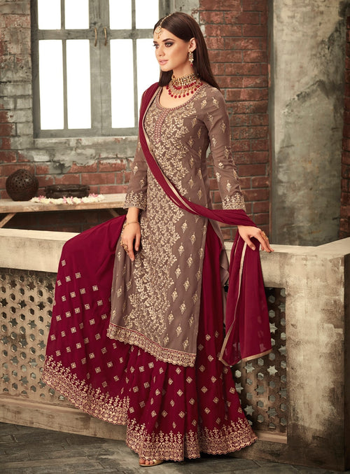 Brown And Red Traditional Embroidered Palazzo Suit