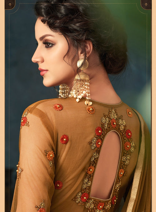 Brown Overall Traditional Embroidered Flared Anarkali Suit
