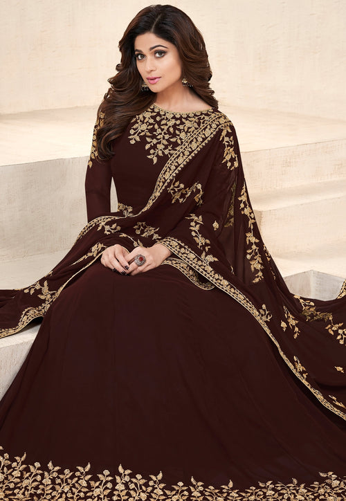 Brown Embroidered Georgette Anarkali Suit