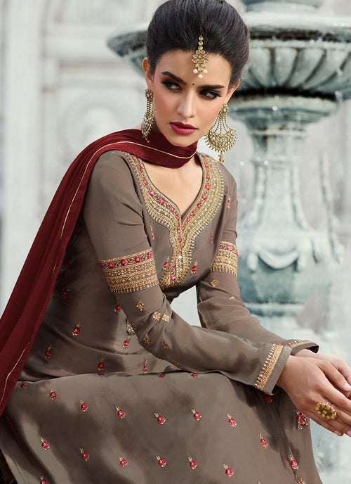 Brown Embroidered Georgette Palazzo Suit