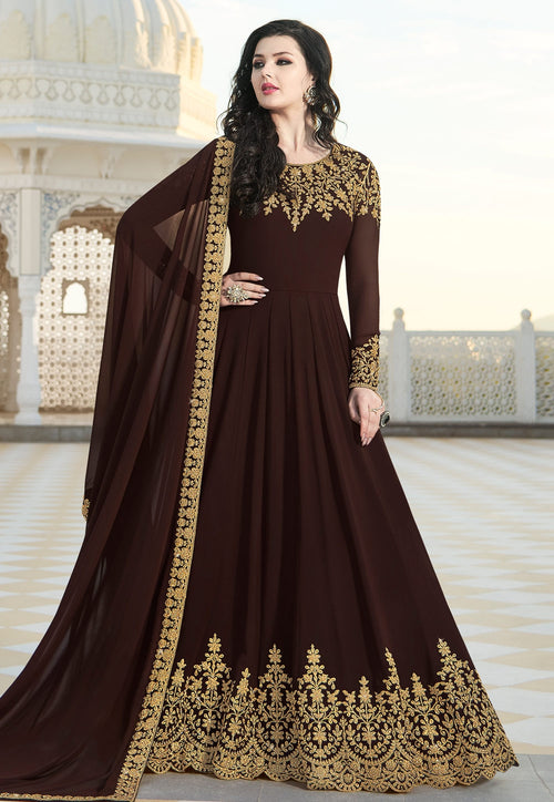 Brown Overall Elegant Embroidered Anarkali Suit