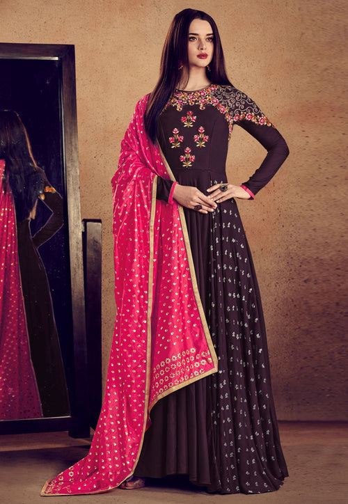 Burgundy And Pink Embellished Anarkali Suit