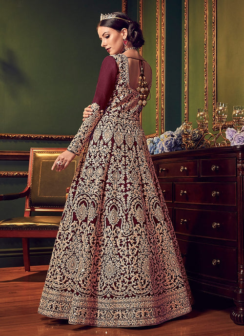 Burgundy All Over Traditional Embroidered Designer Anarkali Suit