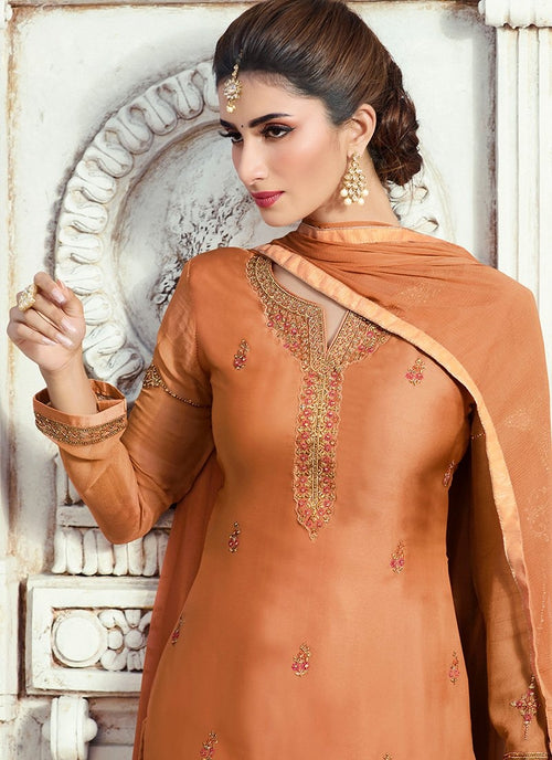 Burnt Orange Embroidered Georgette Palazzo Suit
