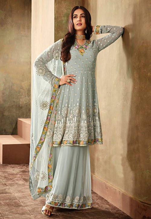 Chic Blue Multicoloured Embroidered Palazzo Suit