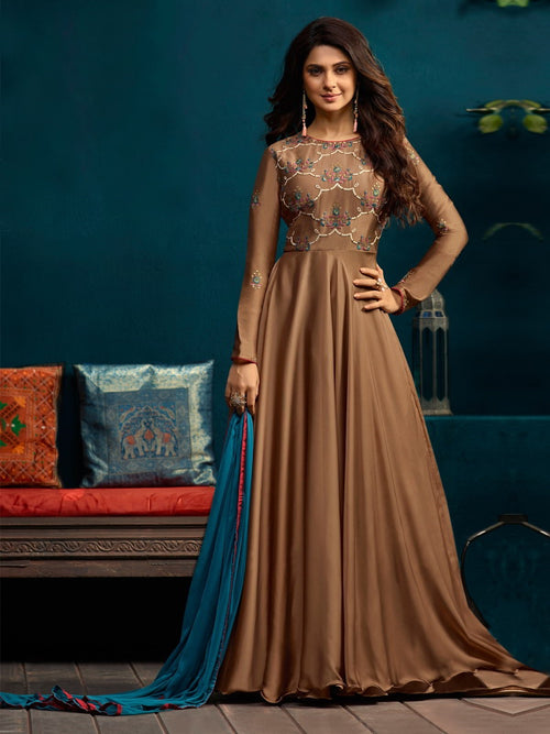 Copper All Over Minimalist Embroidered Anarkali