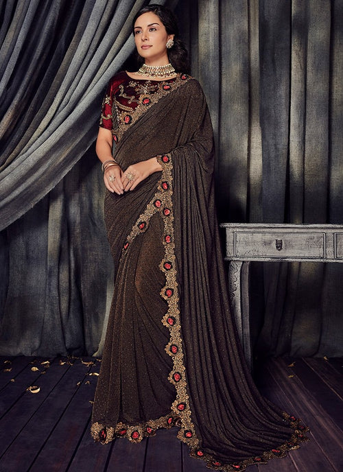 Copper And Maroon Zari Embroidered Designer Saree