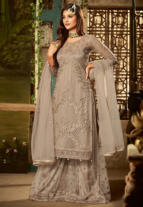 Copper Beige Embroidered Palazzo Suit