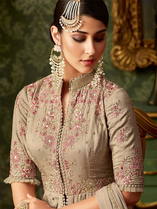 Copper Beige Front Slit Embroidered Anarkali Pant Suit