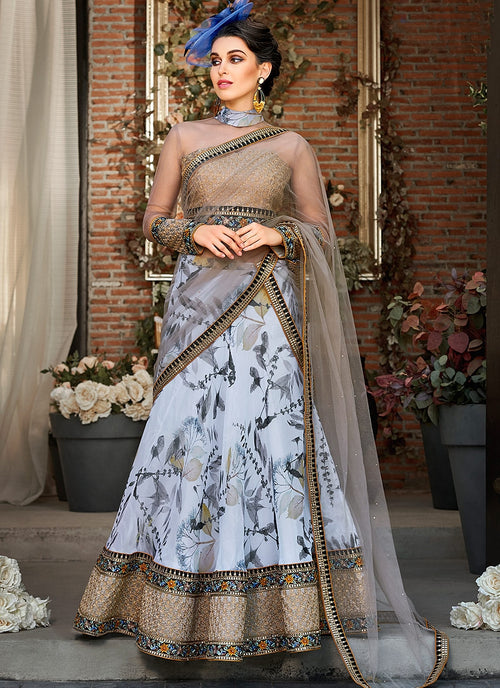 Copper Blue Floral Embroidered Lehenga Choli Suit